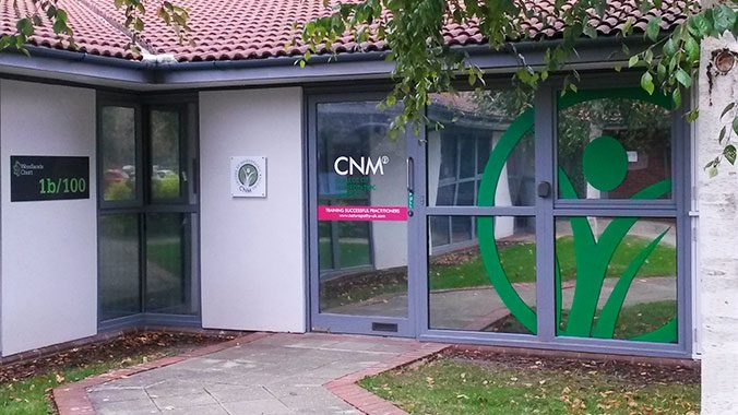 CNM Entrance with window graphics