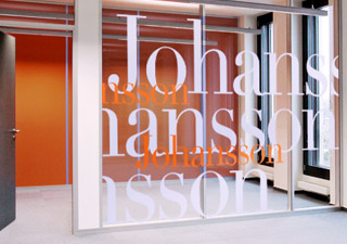 Office partition glass graphics