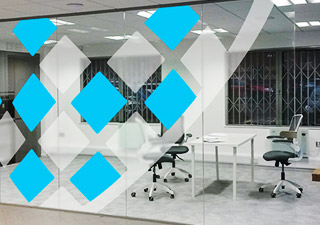 Tech office internal window graphics