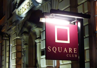 Square Club illuminated external sign